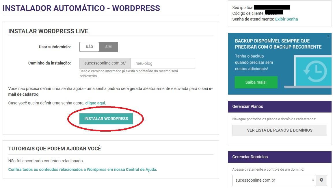 Como Instalar WordPress Painel Kinghost